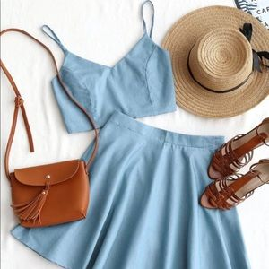 Chambray Two Piece Set